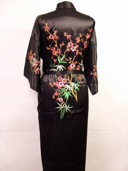 Black New Chinese Women's Silk Satin Embroider Kimono Robe/Gown S M L XL XXL XXXL Wholesale Retail