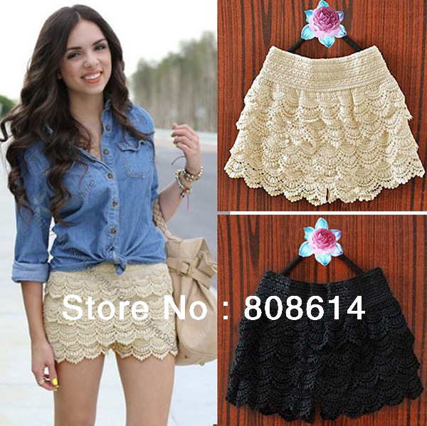 Black/Off-White Color Korean Fashion Womens Sweet Cute Crochet Tiered Lace Shorts Skorts Pants