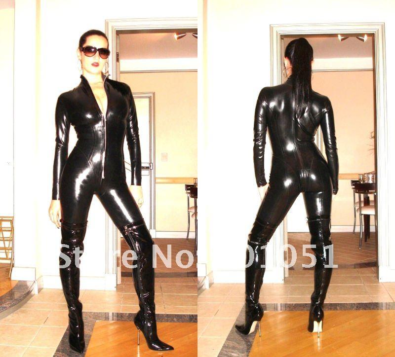BLACK PVC LATEX COSTUMES CROTCHLESS CATSUIT Jumpsuit SEXY LINGERIE F034