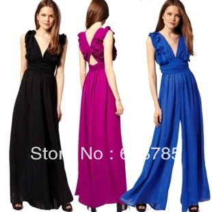 Black/Rose red/Blue Elegant ruffle chiffon Siamese trousers  for women  High waist sexy V-neck jumpsuit free shipping A409