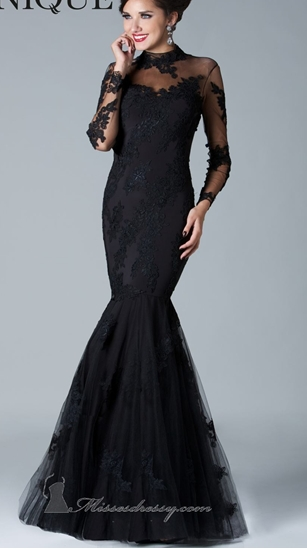 Black Silver Gry Lace Mermaid Wedding Evening Gown Long Sleeve ...