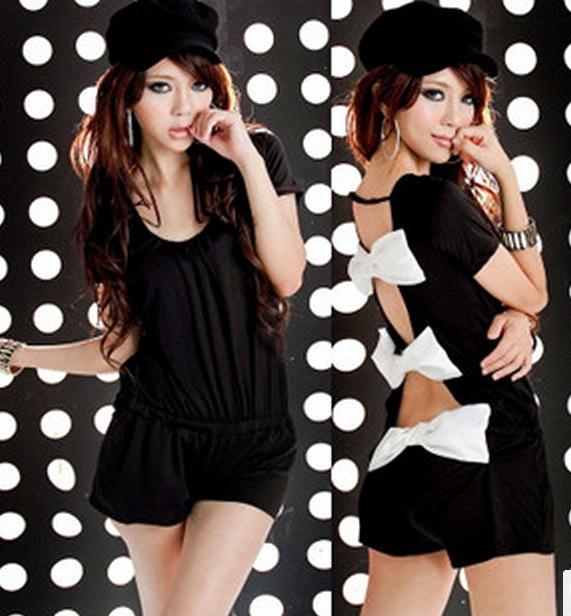 Black White Back Bow Shorts Romper Jumpsuit European Korean Kim Japan Fashion