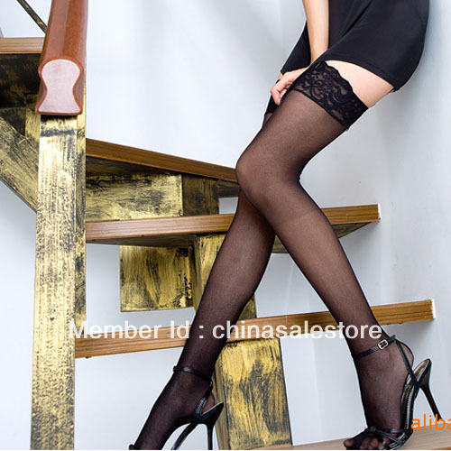 Black/White Color Lace Flower New Lady Sexy Silk Sheer Stockings High Tights Stretchy Free Shipping