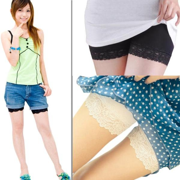 Black/White Comfort Pretty Womens Lace Leggings Safety Shorts Pants Tights A831