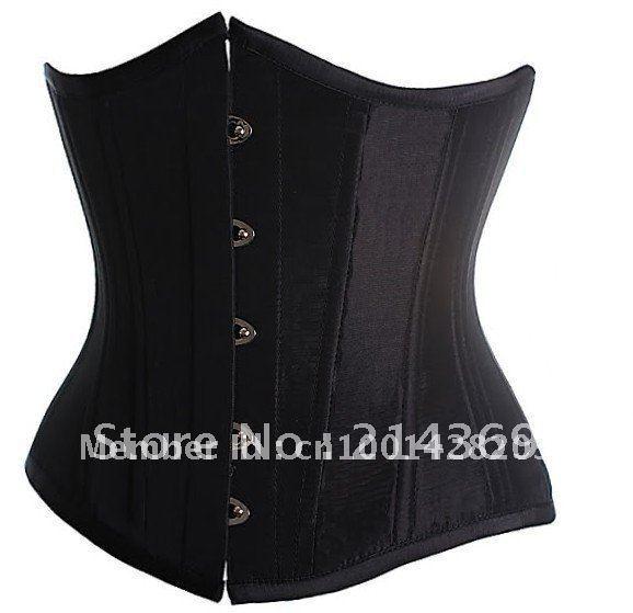 Black /White Goth Underbust Cupless Waist Training Corset Bustier Top S-XXL