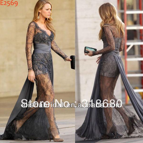 Blake Lively Grey Long Sleeve See Through Skirt Lace Celebrity 2012 Zuhair Murad Evening Dresses
