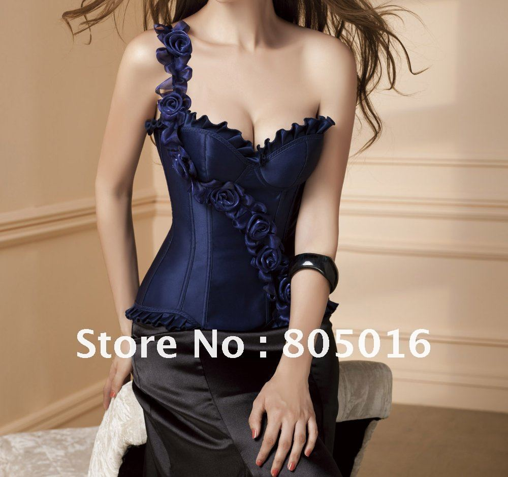Blue Sexy Women Boned Rose Lace Up Overbust Corset Bustier Costumes Lingerie  + G-string