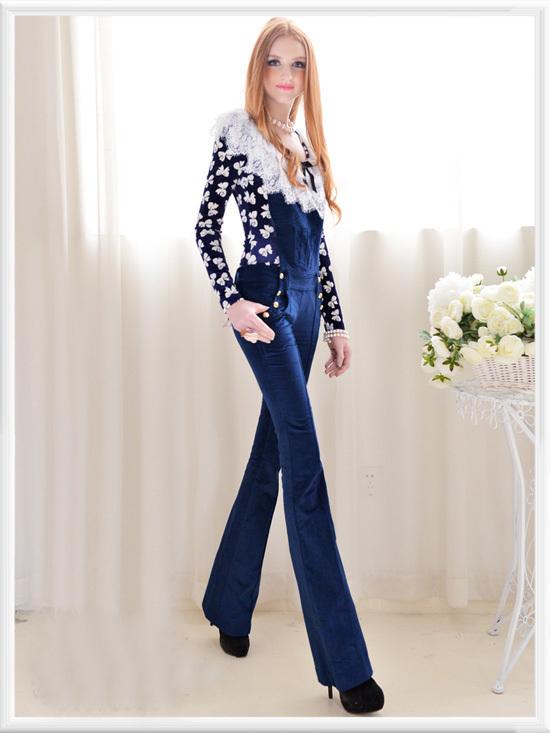 Blue Trendy Strap Velour Flared Leg Celebirty Jumpsuit