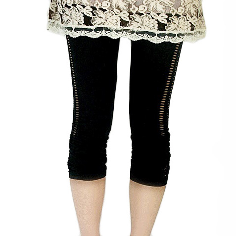 Body shaping network-well seamless beauty care legging spring and summer black cutout Women