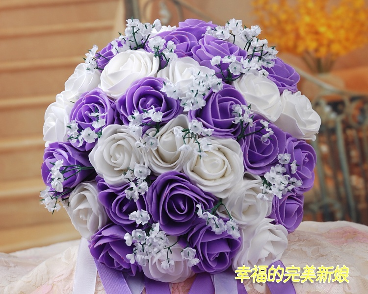 bouquet Free shipping high quality Purple Bribe bouquet of flowers wedding Bride wedding holding flowers  30 PE rose