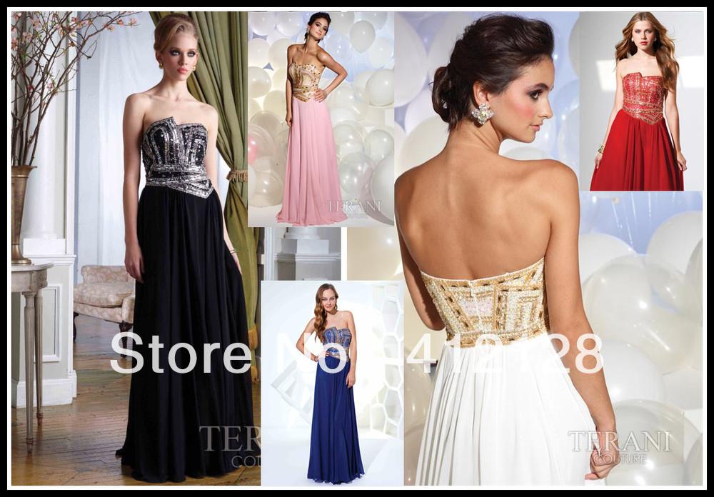 Boutique Strapless Beaded Gold Sequins Chiffon Evening Prom Dresses A-line Floor Length Zipper Back