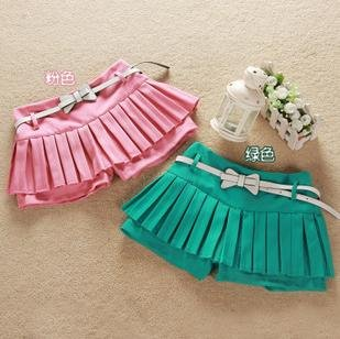 Bow Belt Pleated Culottes Shorts Skirts Style Solid Cotton Cloth Short Style Summer Hot Pants Thin Fashion Lady