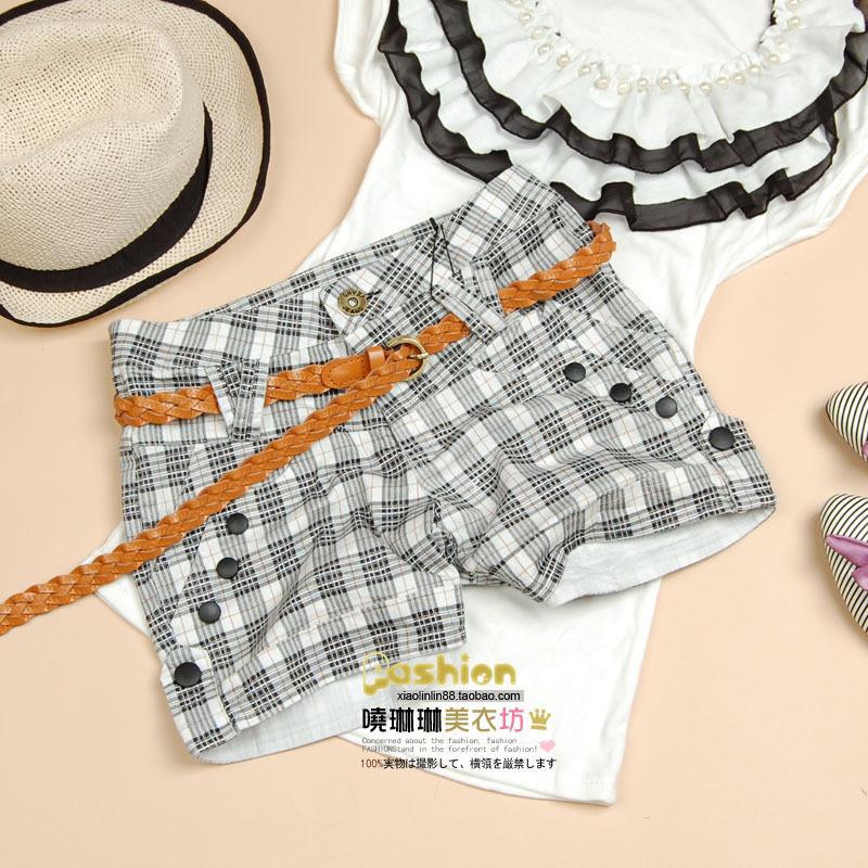 Bow plaid shorts 8906 ,Free shipping.