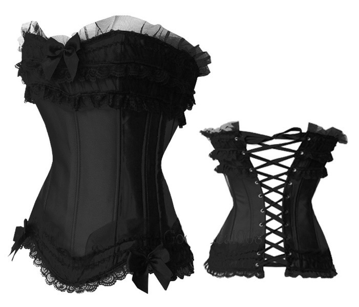 Brand New Satin Boned Lace up Back Corset Hot Sale Sexy Lingerie Top Bows Bustier With G-string