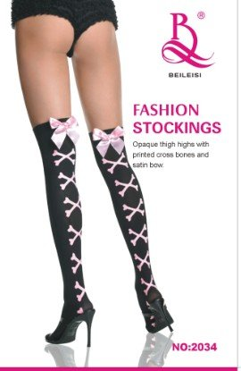 Brand New Sexy Stocking Printed Cross Bones and Satin Bow Fashion Stockings