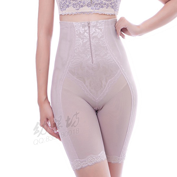 Breathable zipper style slim waist pants ultra high waist pants abdomen drawing plastic pants