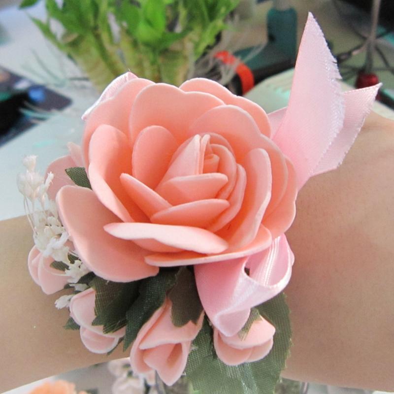 Bride wrist length flower marriage accessories corsage bridesmaid flower artificial rose wedding supplies wrist length flower