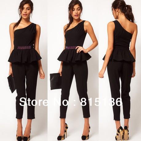 British style waist beads ruffles shoulder jumpsuit black nine-piece pants,Free shipping