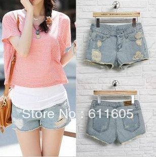 BWC012 new arrival  summer denim shorts female loose pants hole shorts3 size available free shipping