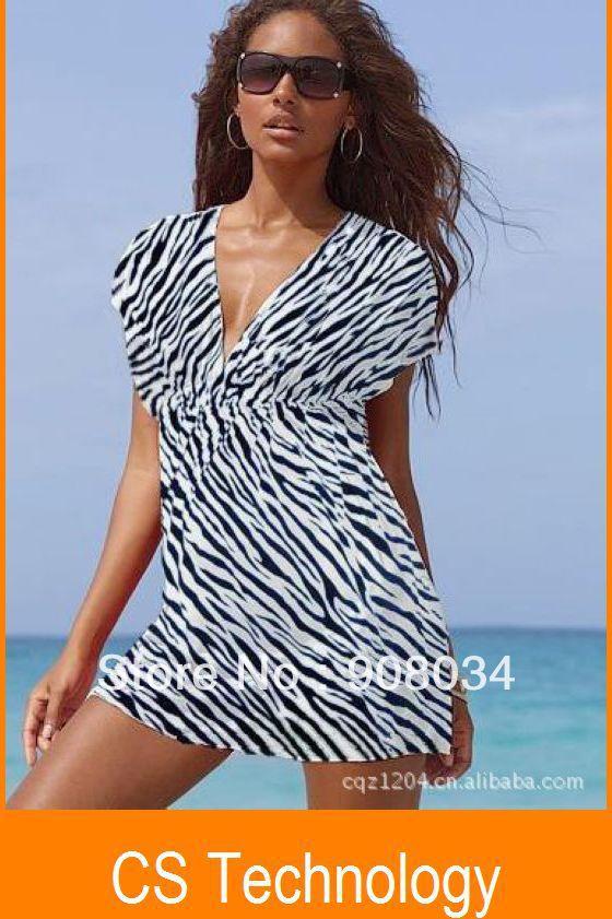 [C-410] elastic ice silk material Bikini skirt, Beach skirt casual dress Sexy Zebra Beach Dress Swimwear Free shipping