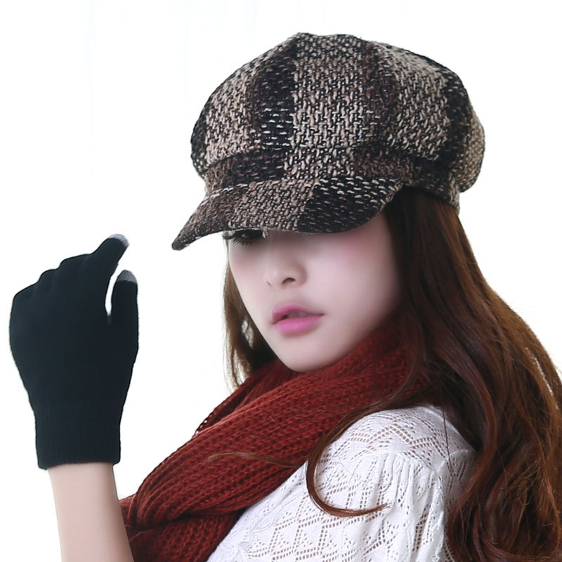 C&s style british style check tweed fabric autumn and winter octagonal cap h287