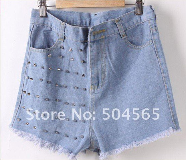 CA12185 Free shipping,Women Studs Rivet Short Jeans,Fashion wornout hot Pants,Wash Denim high waist Shorts,Lady Summer Cool wear