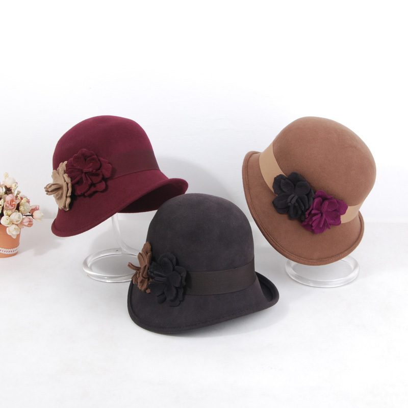 Camellia autumn and winter women's pure woolen hat female dome fashion fedoras billycan Free delivery