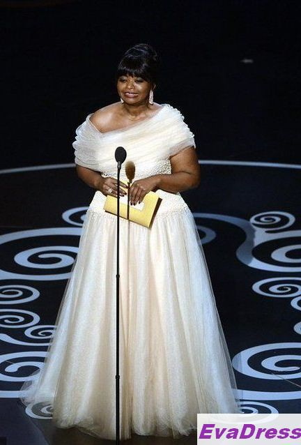 Cap Sleeves Strapless Floor Length Organza Octavia Spencer Red Carpet 85th Academy Awards Celebrity Oscar Dress 2013