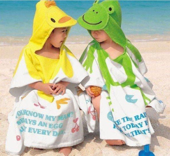 cartoon baby bathrobe kid cotton beach hooded towel robe children's cloak/blanket  free shipping