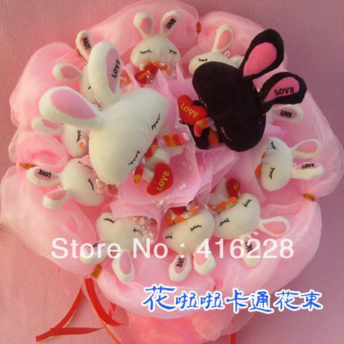 Cartoon bouquet Valentine creative birthday gift dried flowers free shipping W662