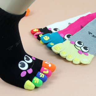 Cartoon lovers Smile separate toe socks five fingers open toe yoga socks male/ female colors for choose