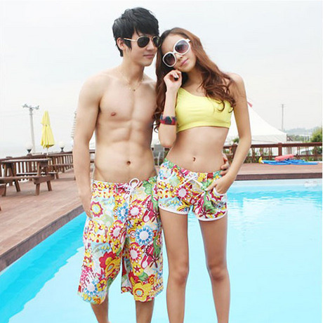 Casual lovers beach pants female plus size multicolour lovers quick-drying shorts summer
