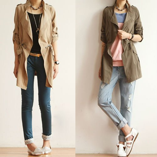 CASUAL ROLL UP SLEEVE DRAWSTRING TRENCH COAT 3566