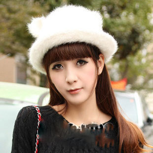 Cat ears cap leather cape hare explaines dome hat bucket hats women's autumn and winter thermal