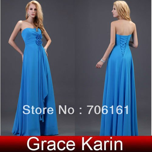 Charming and Elegant!GK Stock Strapless Chiffon Bridesmaid Gowns Ball Party Prom Evening Dress 8 SizeCL3420