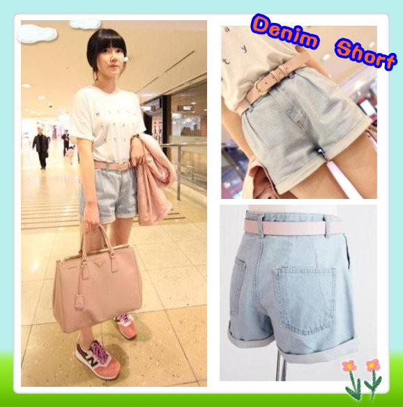Cheap Price New Design Roll Up Hem Light Color Pleated High Waist Denim Shorts With light pink belt free shipping
