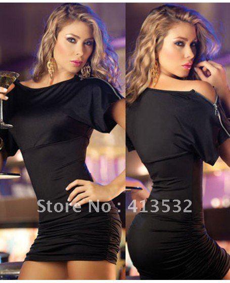 Chic White Open Sleeve Mini Dress Clubwear zipper detail - 56139