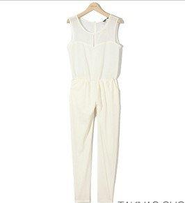 chiffon hot sale white  black sleeveless shop fashion normic chiffon   jumpsuit trousers PL12071606
