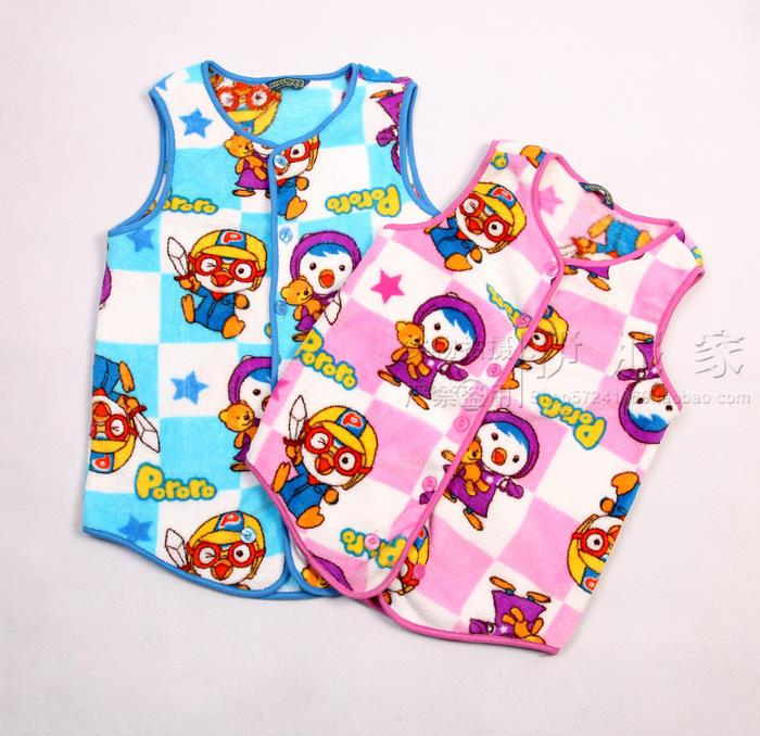 Child baby coral fleece one piece vest sleepwear robe