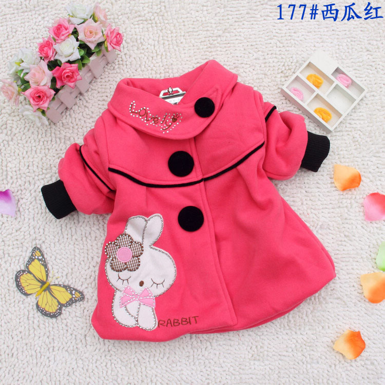 Child girls clothing autumn and winter 100% cotton plus velvet baby trench overcoat autumn and winter sweatshirt cardigan