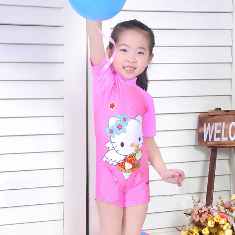 Child one-piece swimsuit pink kitty cat little girl swimwear surfing suit swimming cap wholesale