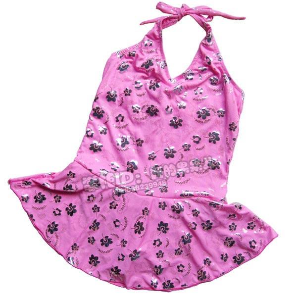 Child young girl one-piece swimsuit swimwear plus size dress child swimwear female child 825-q