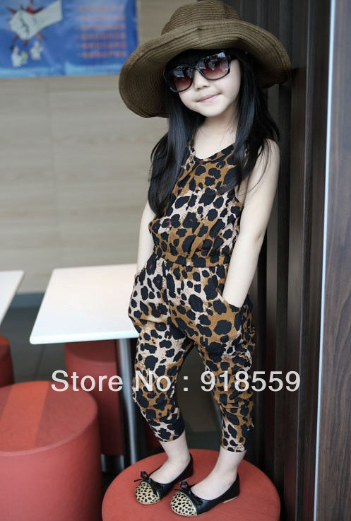 Children overalls Children girl leopard frilling sleeveless jumpsuit pants Suspenders trousers overalls