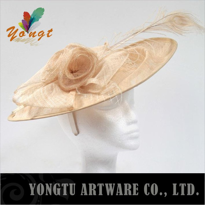 christmas accessories Factory product ! Free EMS ! 2012 Fashion Bridal wide brim sinamay hats for wedding and party