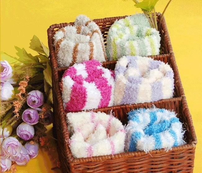 Christmas gift !free shopping!Thermal at home stripe sock knee-high floor  towel  christmas socks