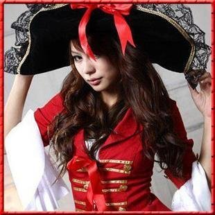 Christmas party dress Female Pirate Costume collar dance costumes stage equipment cosplay costume + Hat