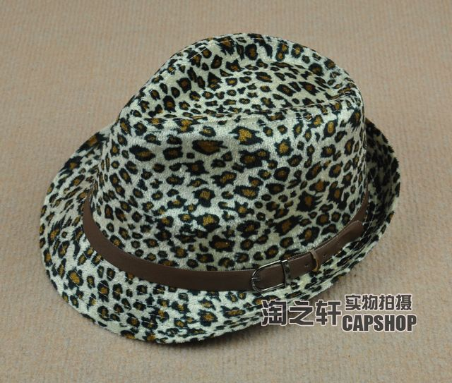 Classic autumn and winter jazz hat leopard print strap buckle fedoras the trend of fashion casual hat