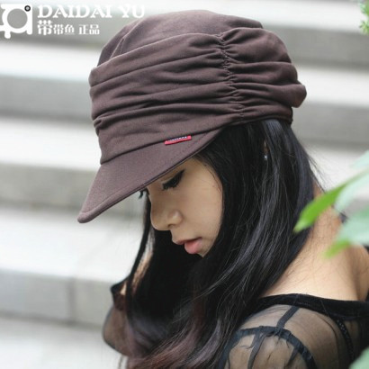 Classic belt hair-tail hat women's autumn and winter baseball newsboy badian painter cap female hat, FREE shipping