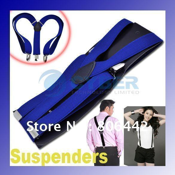 Clip-on Adjustable Unisex Pants Y-back Suspender Braces Elastic Belt 2 Colors Free Shipping
