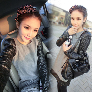 Clothes women's 2012 leather patchwork woolen one-piece dress mushroom SEMIR ,Free shipping
